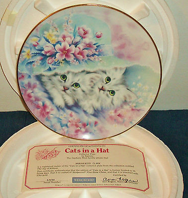 """NEW 1995 WEDGWOOD England JOY OF KITTENS #3 Kayomi """"CATS IN A HAT""""  23K PLATE"""