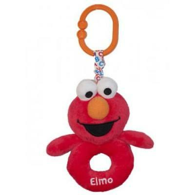 NEW Sesame St Elmo Soft Ring Rattle with Attachable Clip
