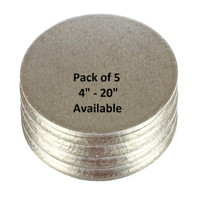 "Pack of 5 Silver Round Cake Drum Drums Boards 6"" - 20"" Available 12mm Thick"