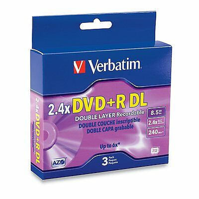 New 3 Pack Verbatim 95014 AZO DVD+R DL 8.5GB 2.4X In Individual Jewel Cases