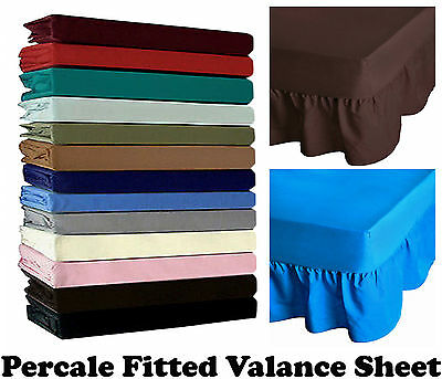 Non Iron Percale Fitted Valance Sheet Single Double King Sizes & Pillowcase