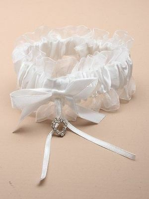 Ladies Off White Garter With Satin Ribbon Bow Glass Effect Crystal Heart Bridal