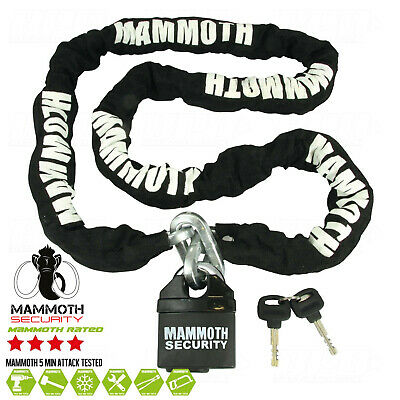 New Mammoth Heavy Duty Motorcycle Padlock And Chain 1.8M