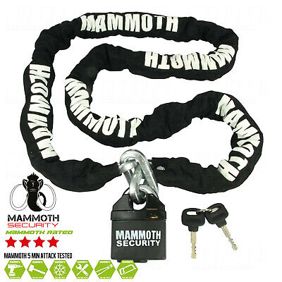 New Mammoth Heavy Duty Motorcycle Scooter Mx Motocross Padlock And Chain 1.8M