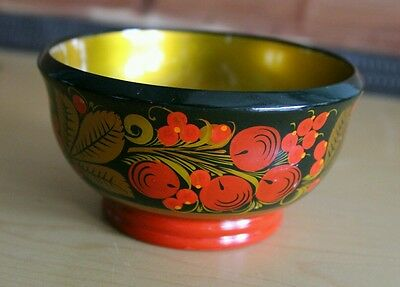 Vintage Russian USSR Hand Painted Wooden Laquered Bowl Marked Cherries