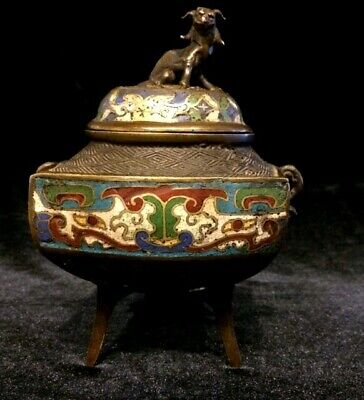 Chinese Cloisonne Enamel Bronze Tripod Censer with Foo Dog
