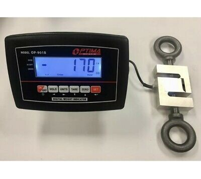 3000 lb x 0.1 lb  S-TYPE CRANE SCALE - HANGING SCALE - CALIBRATED - EYE BOLTS