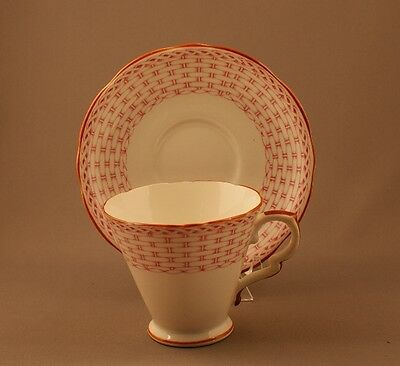 Royal Stafford Pink Basket Weave Art Deco Cup and Saucer, England