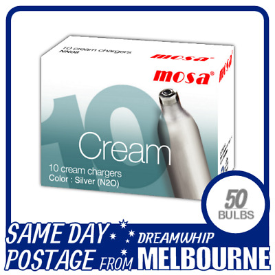 Same Day Postage Mosa Cream Chargers 10 Pack X 5 (50 Bulbs) Whipped N2O