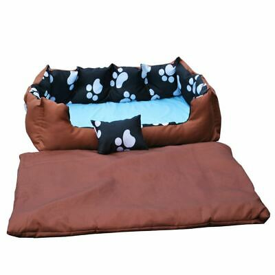 Large Washable Dog Bed Light Bedding Paw Print Pet Animal Cat Basket Brown
