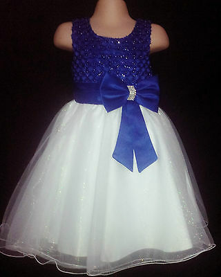 Royal Blue Ivory Flower Girl Bridesmaid Prom Sparkly Diamante Party Dress 0m-13y
