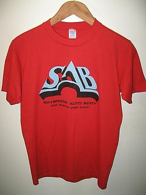 Saybrook Auto Body Connecticut USA Vintage 1970's Thin Jerzees Red T Shirt Med