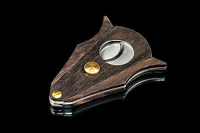 New DOS CABALLOS CIGARS Pocket Wood Stainless Steel Double Blades Cigar Cutter