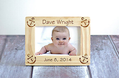 New Baby Personalized Wood Frame- Personalized Rustic Picture Frame-Wood Burned