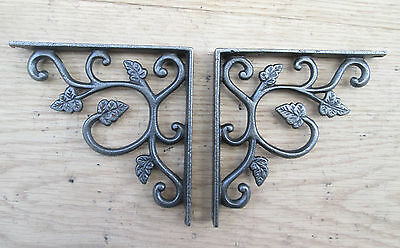 PAIR of Antique decorative Leaf Vintage cast iron shelf bracket wall mounted