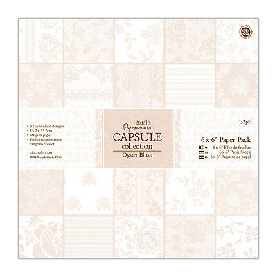"Papermania 6x6"" scrapbooking paper capsule collection 32 sheets Oyster Blush"