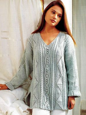(177) Aran Knitting Pattern for Lady's Textured Tunic/ Sweater, 32-42''