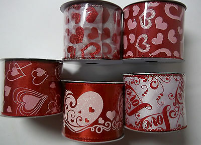 """Assorted Valentines Day Ribbon  Red Wire-edged  2-1/2"""" x 9' New"""