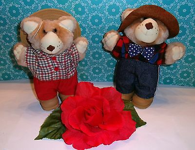 """1980's✿ FURSKINS 7"""" Bears Stuffed Animals """"Boone"""" & """"Farrell"""" ✿Wendy's Toys"""