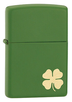 Zippo Windproof Green Matte LIghter With Gold Shamrock, # 21032, New In Box