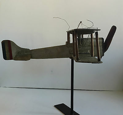 Antique Wooden And Iron Weathervane Airplane - Rare Folk Art Plane