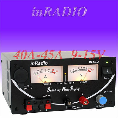 INRADIO IN-450 - SWITCHING POWER SUPPLY 40A/45A 9V-15V + Kostenloser Versand!