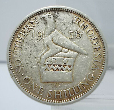 Southern Rhodesia 1936 One Shilling Silver Coin XF Rare