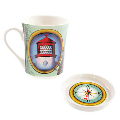 Bone China Mug & Coaster Set - Lighthouse - Gift Boxed Mug with Nautical Design