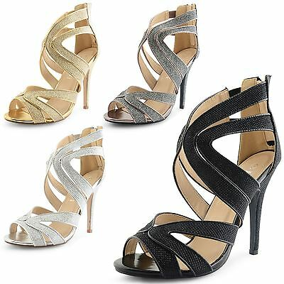 Womens Ladies High Stiletto Heel Ankle Strap Party Sandals Shoes UK Size 3-8