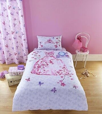 Catherine Lansfield Pink Glamour Princess Cotton Rich Girls Duvet Set Single
