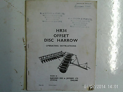 Ransomes HR34 Offset Disc Harrow Operating Instructions