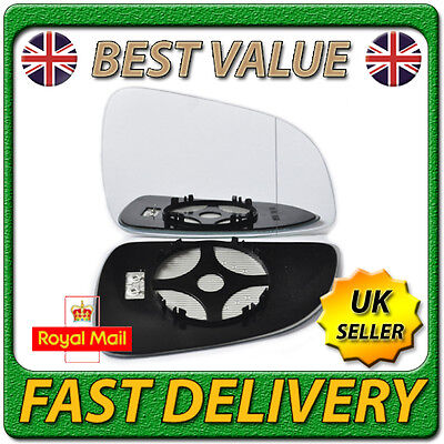 Right Driver Side Heated Wing Door Mirror Glass for VAUXHALL ASTRA H 2009-2010