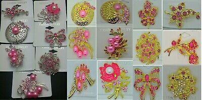 A-70-PI Wholesale Lot 7 Pins  Vintage Style  Brooches Pins Pink  Bouquet