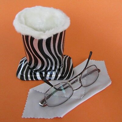 Zebra Design Plush Eyeglass Stand Holder with Cleaning Cloth, Protect and Store