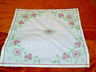 Vintage  Hand-Embroidered Tablecloth 100   % cotton  White