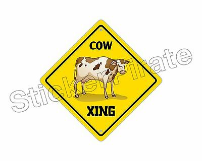 "*Aluminum* Cow Crossing Funny Metal Novelty Sign 12""x12"""