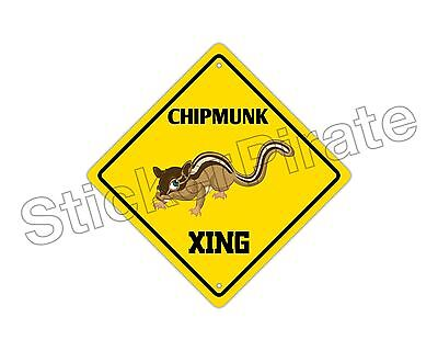 "*Aluminum* Chipmunk Crossing Funny Metal Novelty Sign 12""x12"""