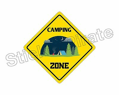 "*Aluminum* Camping Zone Funny Metal Novelty Sign 12""x12"""
