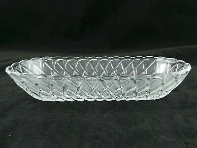 Clear Textured Glass Oblong Weave Pattern Dish Bread Dish