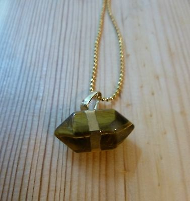 """Natural Tiger's Eye pendant crystal gemstone + Gold plated chain 17"""" necklace"""