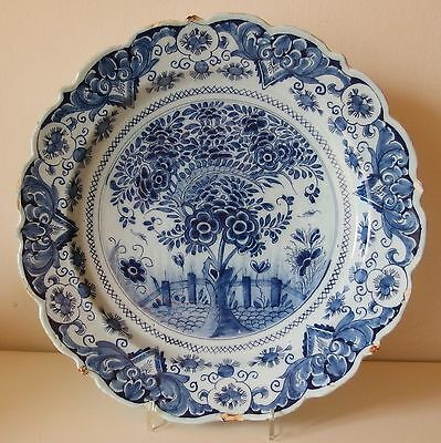 18th Century DUTCH DELFT DISH PLATE Charger TEA TREE Ø 13 1/3 ins MARKED WvdB