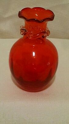 Tangerine hand blown vase