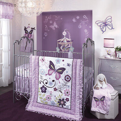 Lambs & Ivy Butterfly Lane 5 Piece Crib Bedding Set Girls Nursery NEW!