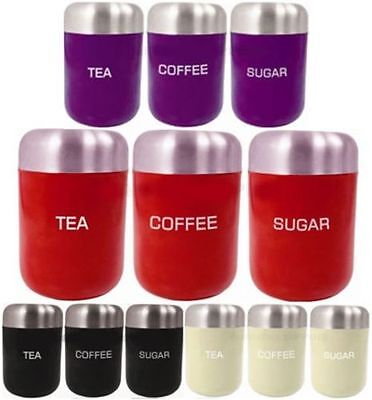 3Pc Canister Set Jar Lid Canisters Storage New Stainless Steel Tea Coffee Sugar