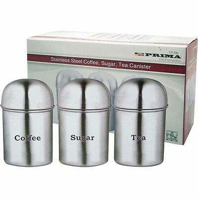 3Pc Stainless Steel Canister Pot Set Tea Coffee Sugar Kitchen Brand