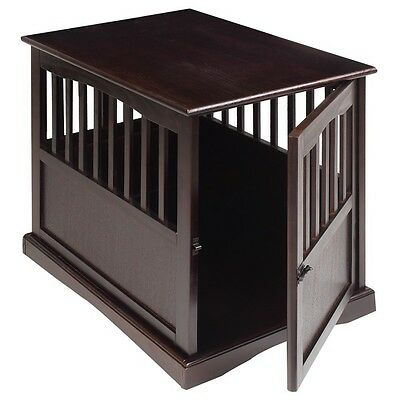 Large Wooden Pet Crate End Table Furniture Dog Kennel House Decor Living Room