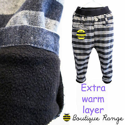 Toddlers Boy Suit Trousers with Elastic Waist Wool cosy Fleece lining Chino 2-7Y
