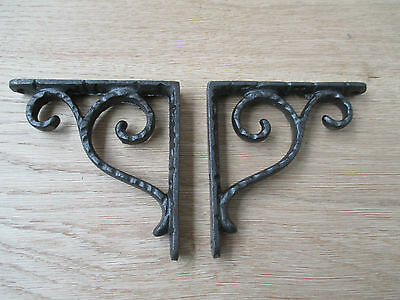 "4"" Pair Of Textured Scroll Antique Vintage  Cast Iron Shelf Bracket Wall Mounted"