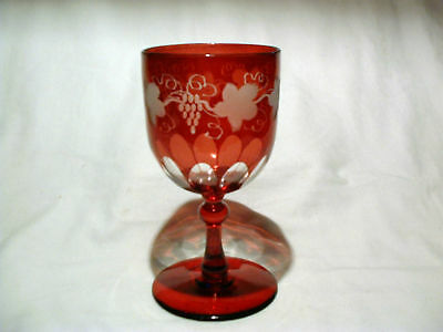 19ThC Blown Antique Ruby Cut Glass To Clear Goblet