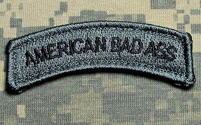 American Bad Ass Tab Us Army Usa Acu Dark Hook Morale Patch